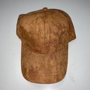 Tan Velvet adjustable Hat with Cap